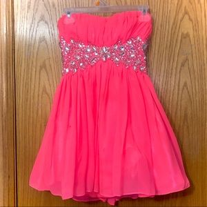 Bright Pink Bejeweled Homecoming Dress